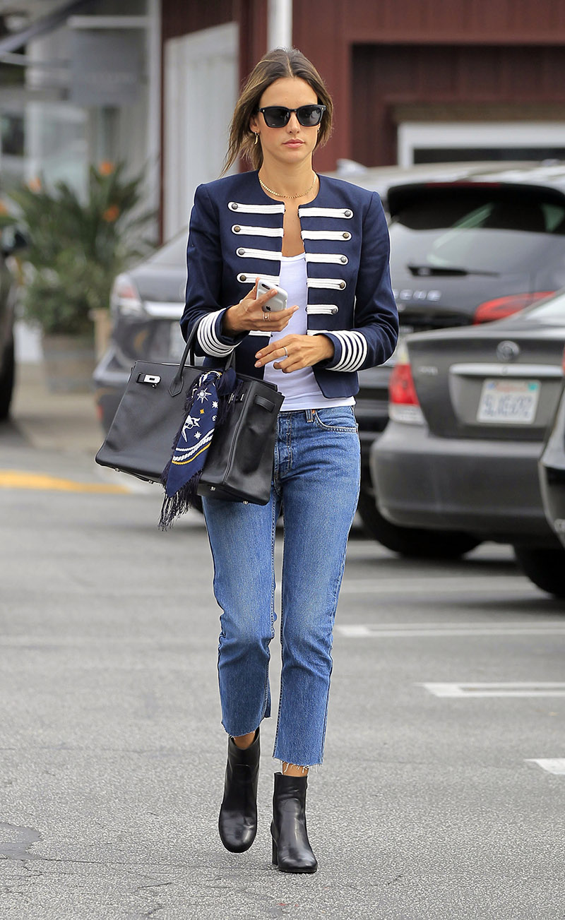 52215791 Model and busy mom Alessandra Ambrosio was spotted out shopping in Brentwood, California on October 27, 2016. Alessandra was wearing a navy blue and white nautical jacket with matching scarf tied to her purse. FameFlynet, Inc - Beverly Hills, CA, USA - +1 (310) 505-9876